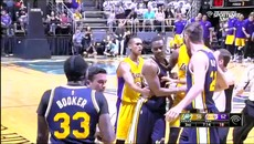 Jazz vs. Lakers - Trevor Booker Slaps Roy Hibbert Upside The Head And Gets Ejected.